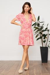 dress,pink,pink dress,day dress,floral dress,summer dress