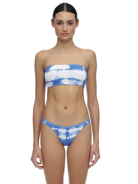 BOND EYE Sierra Tie Dyed Seersucker Bikini Top in blue / white