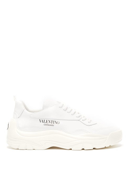 Valentino - Gumboy Chunky Leather Trainers - Womens - White
