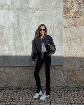 jacket,bomber jacket,black pants,white sneakers,cardigan,black bag