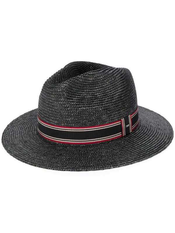 Saint Laurent stripe ribbon panama hat in black