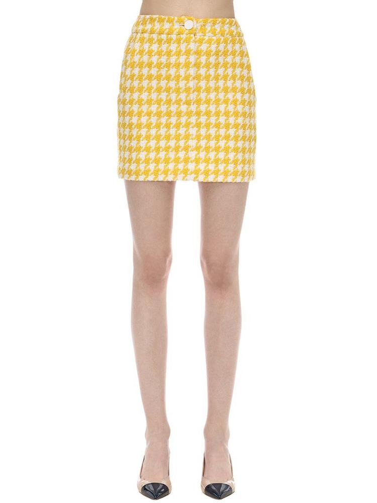 ROWEN ROSE Wool Houndstooth Tweed Mini Skirt in yellow