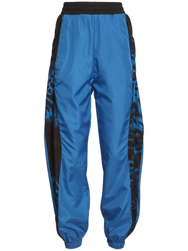 REDEMPTION High Waist Nylon Track Pants in blue