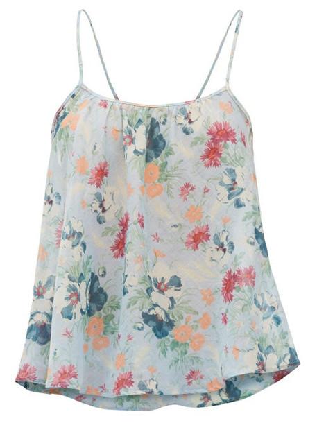 Loup Charmant - Floral-print Organic-cotton Cami Top - Womens - Blue Print