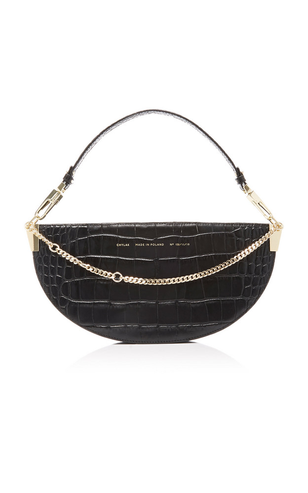 Chylak Embellished Croc-Effect Leather Shoulder Bag in black