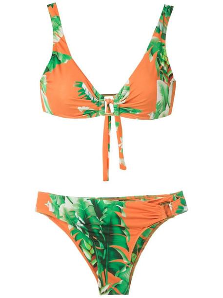 Amir Slama floral print bikini set in green