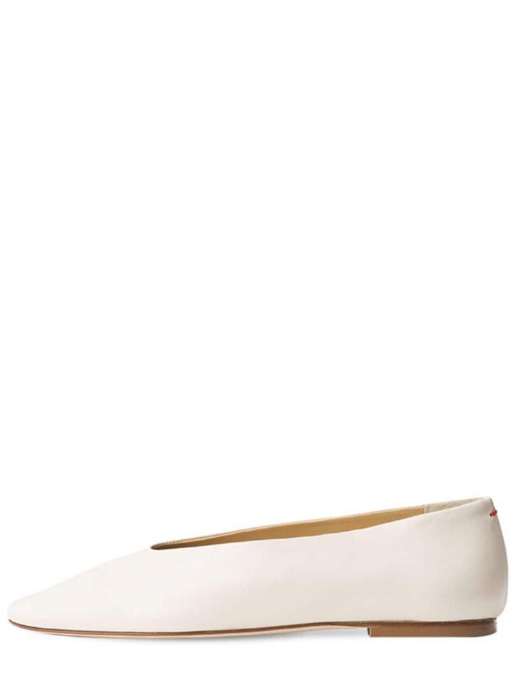 AEYDE 10mm Kirsten Leather Ballerinas in cream