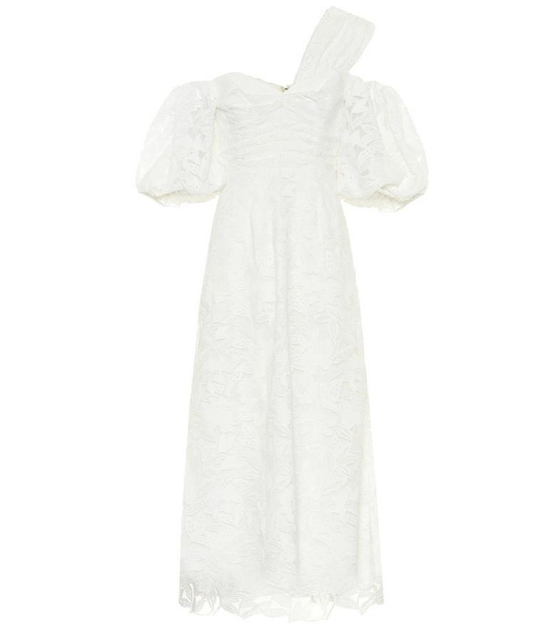 Self-Portrait Off-shoulder lace midi dress in white