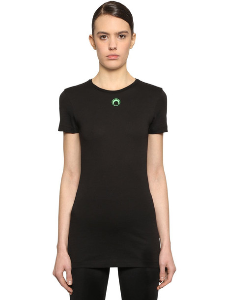 MARINE SERRE Moon Print Cotton Jersey T-shirt in black / green