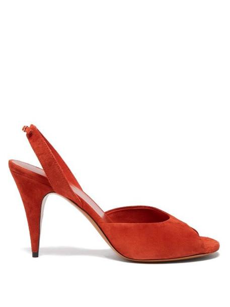 The Row - Swing Suede Slingback Sandals - Womens - Dark Orange
