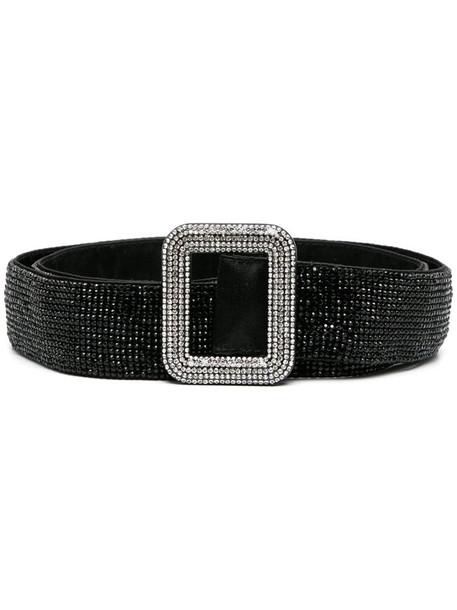 Benedetta Bruzziches crystal-embellished buckle belt in black