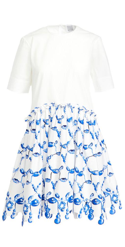 Rosie Assoulin Short Ebbs & Flows Dress in blue / white