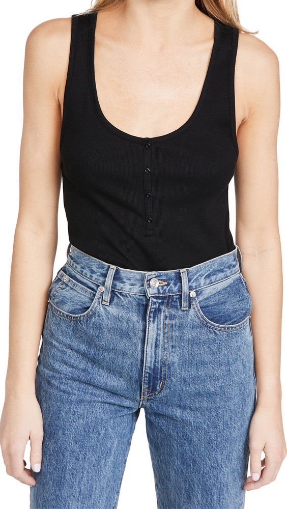 Ninety Percent Ribbed Button Front Top in black