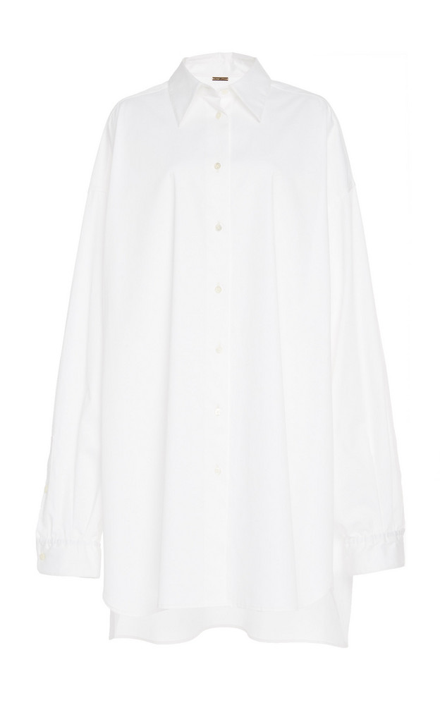 Adam Lippes Oversized Cotton Poplin Menswear Shirt in white