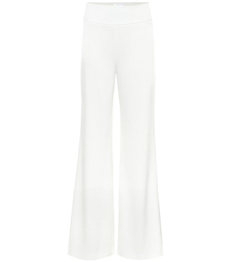 Galvan High-rise wide-leg crêpe pants in white
