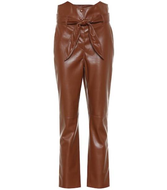 Nanushka Ethan high-rise straight pants in brown