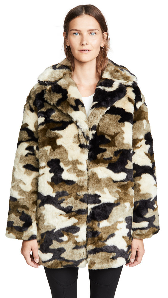 Pam & Gela Camo Faux Fur Coat in print