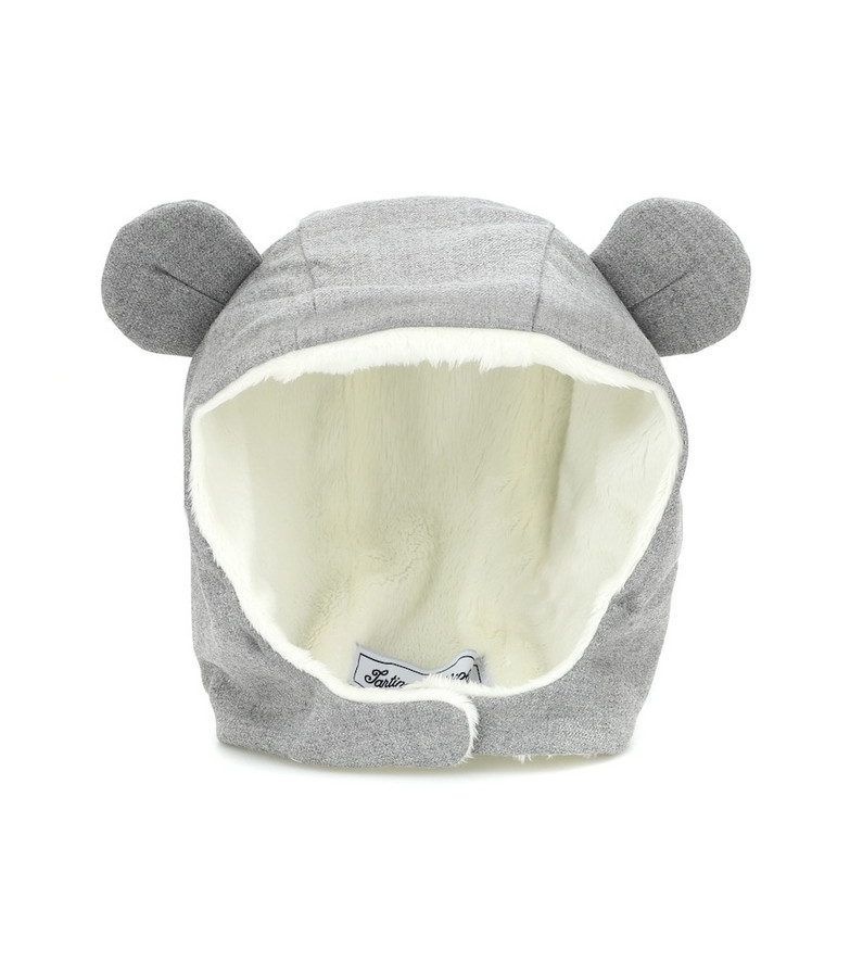 Tartine et Chocolat Baby faux fur-lined hat in grey