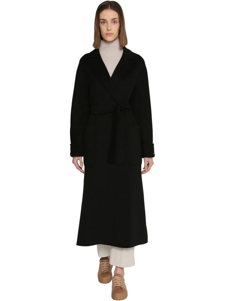 MAX MARA 'S Belted Long Wool Coat in black