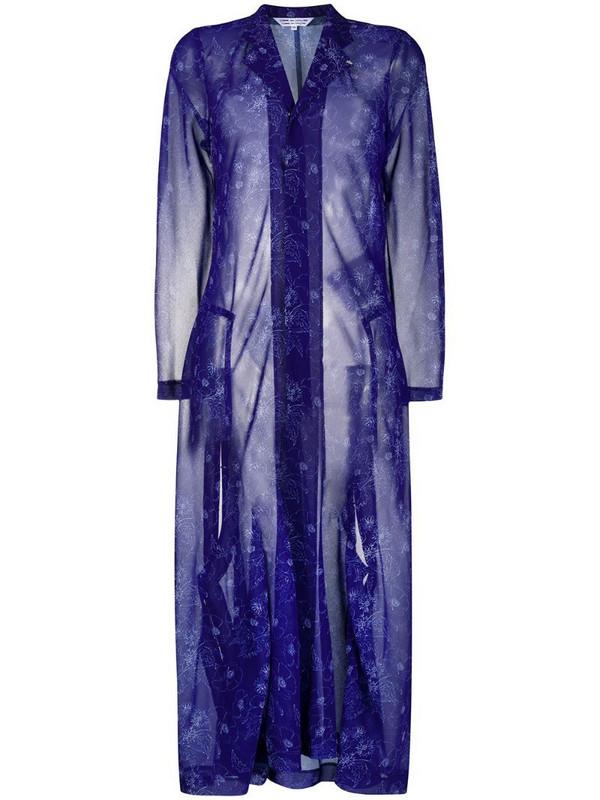 Comme Des Garçons Comme Des Garçons sheer floral-print coat in blue