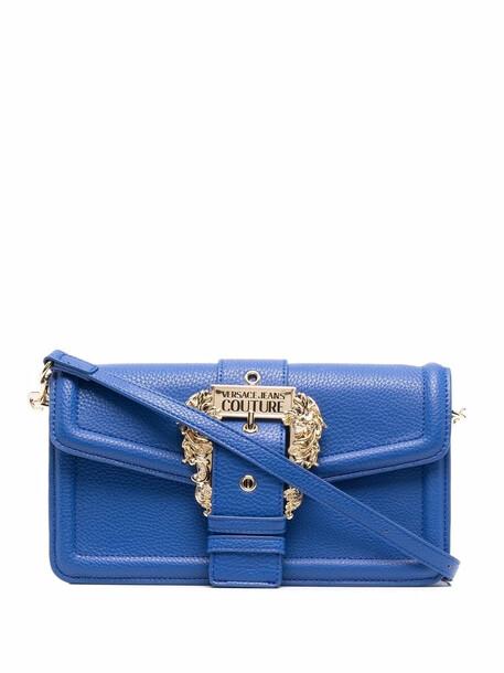 Versace Jeans Couture logo-buckled shoulder bag - Blue