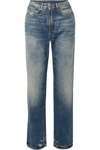 R13 - Distressed Mid-rise Straight-leg Jeans - Blue