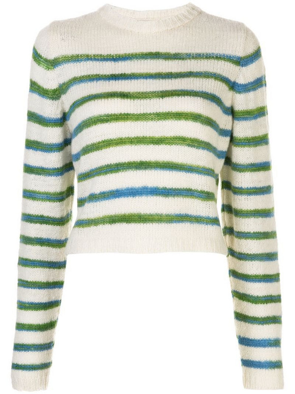 The Elder Statesman stripe print jumper in white