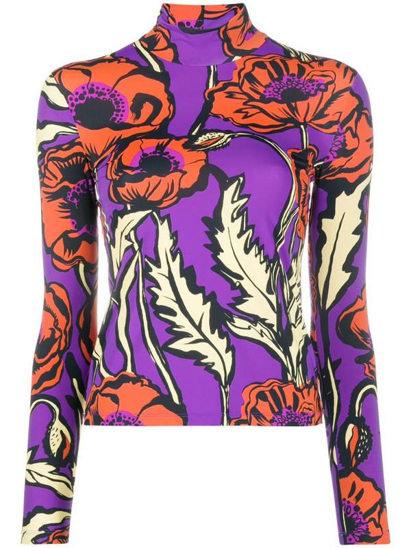 La Doublej Big Blooms mock-neck top in purple