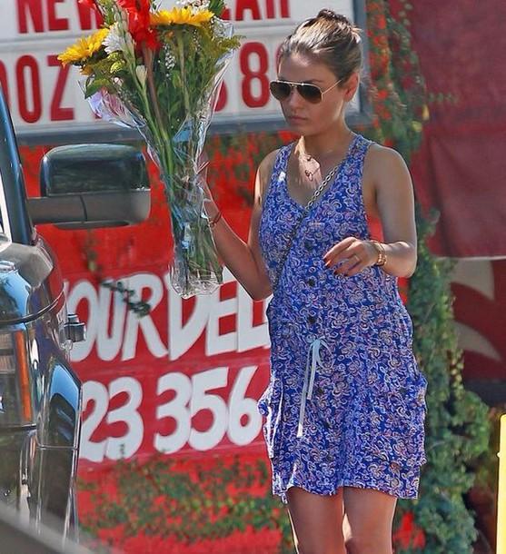 dress printed dress pockets mila kunis aviator sunglasses blue dress floral dress