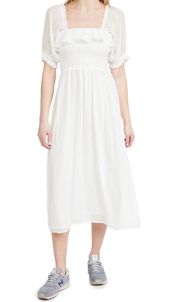 WAYF Smocked Midi Dress in ivory