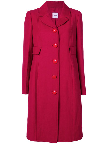 Moschino Pre-Owned single breasted midi coat in red