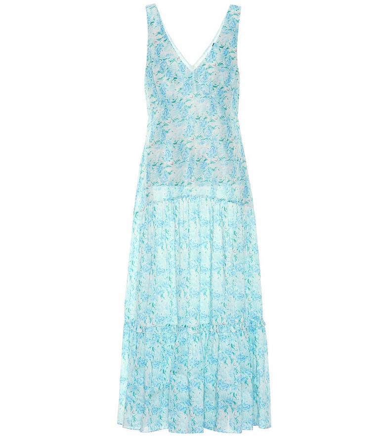 Rixo Carrie linen and silk maxi dress in blue
