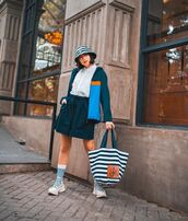 bag,shoulder bag,J.W.Anderson bag,socks,sneakers,short,jacket,white shirt,sun hat