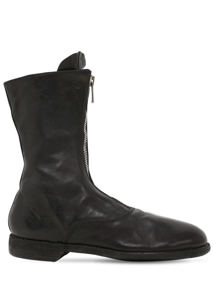 GUIDI 310 Zip-up Full Grain Leather Army Boots in black