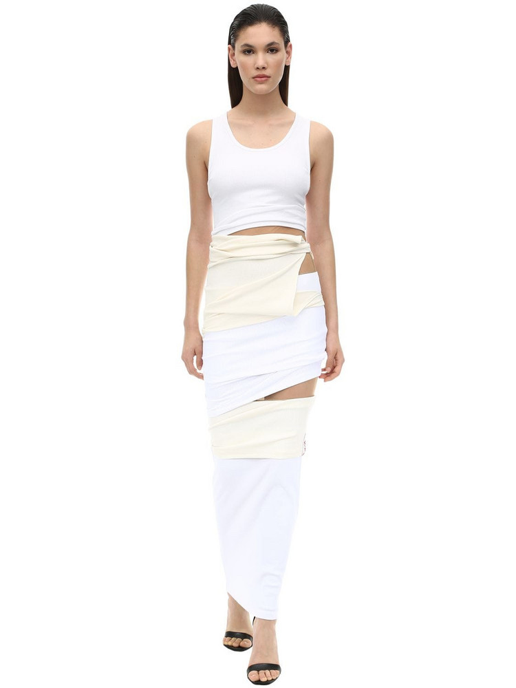 Y PROJECT Layered Stretch Jersey Dress in white