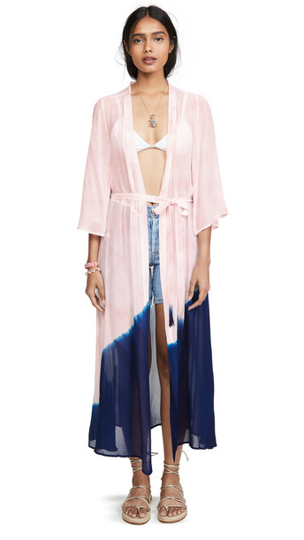 ONE by New Friends Colony ONE by Electric Tie Dye Kimono in blue / blush