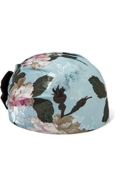 Erdem - Doria Velvet-trimmed Jacquard Hat - Blue