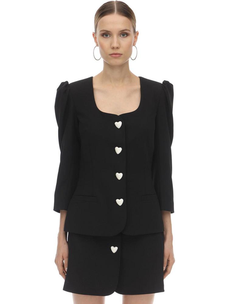 GEORGE KEBURIA Heart Button Viscose Crepe Blazer in black / white
