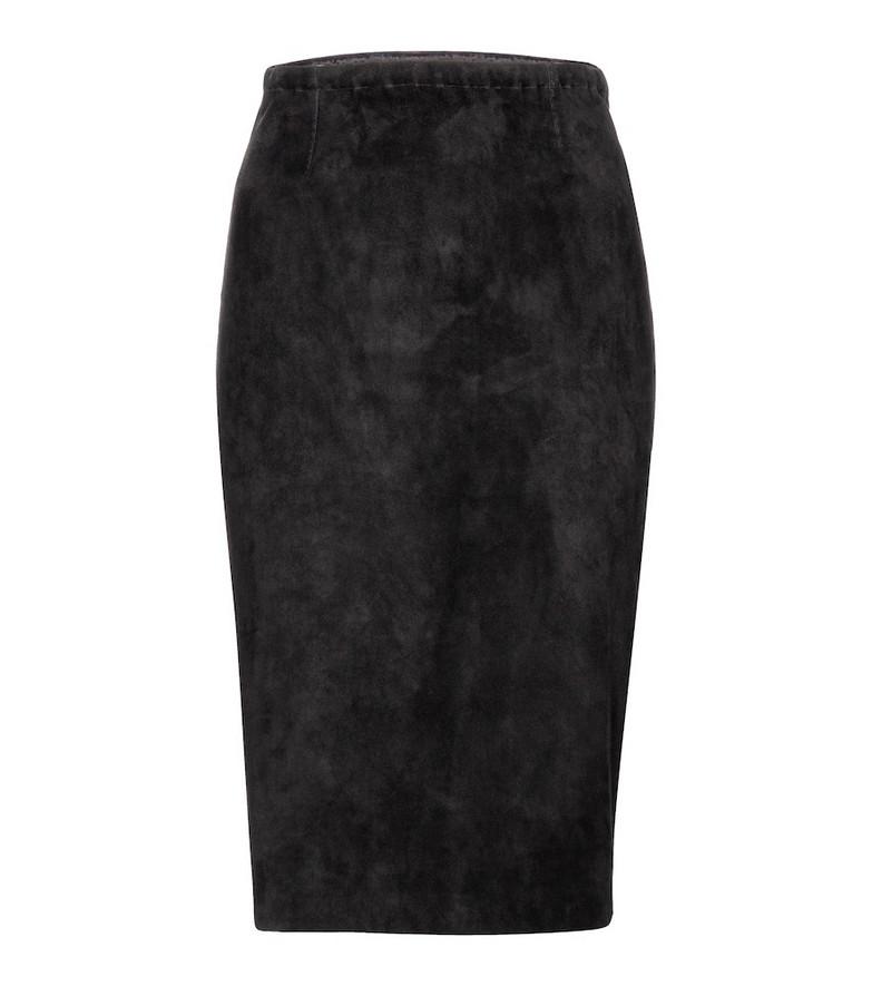 Stouls Gilda suede midi skirt in black