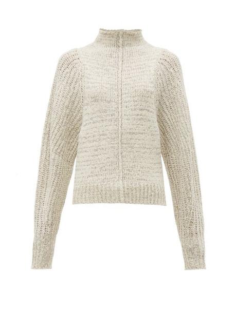 Isabel Marant - Edilon High Neck Wool Blend Sweater - Womens - Light Grey