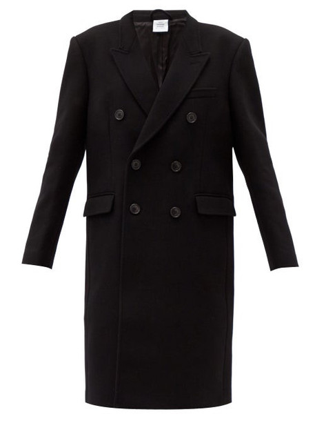 Vetements - Double-breasted Wool-blend Coat - Womens - Black