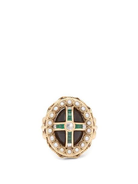Jade Jagger - Diamond, Emerald, Pearl & 18kt Gold Ring - Womens - Green