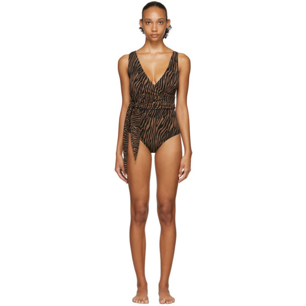 Lisa Marie Fernandez Black and Brown Zebra Dree Louise One-Piece Swimsuit