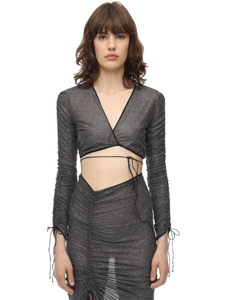 OSÉREE SWIMWEAR Cropped Long Sleeve Lurex Wrap Top in grey
