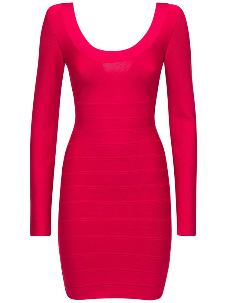 HERVÉ LÉGER Long Sleevestretch Jersey Mini Dress in red