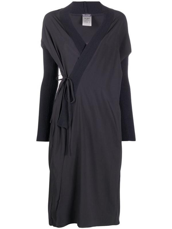 Kristensen Du Nord ribbed-knit edge wrap dress in grey