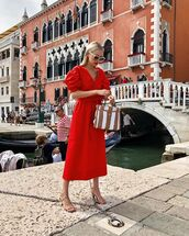 dress,midi dress,red dress,short sleeve dress,sandals,handbag