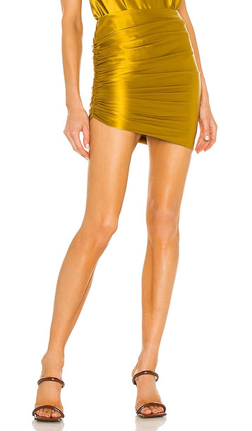 The Sei Gathered Asymmetrical Mini Skirt in Mustard