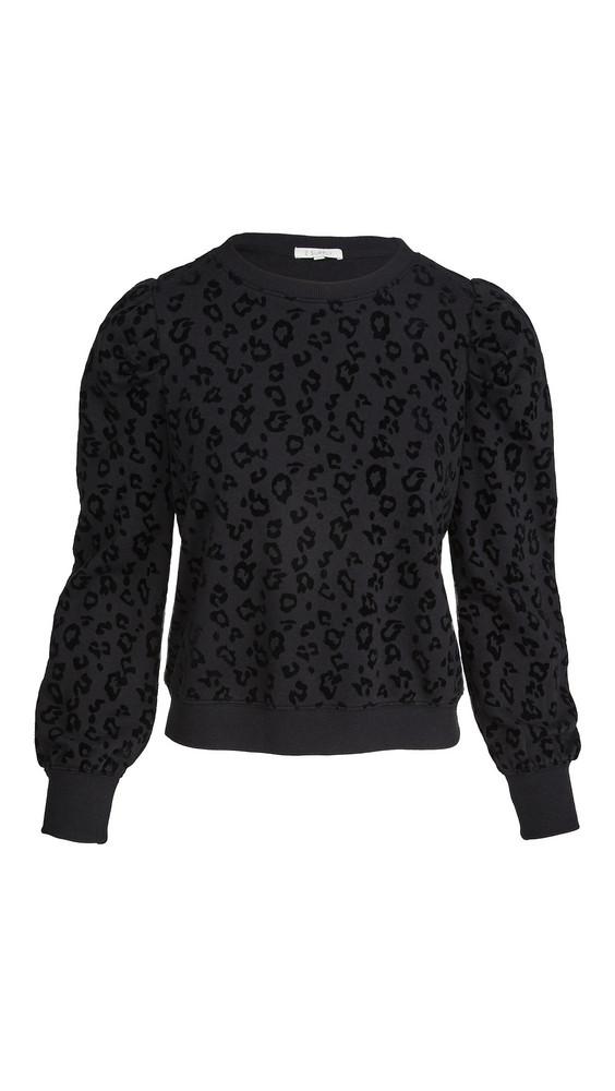 Z Supply Leopard Puff Sleeve Sweatshirt in black
