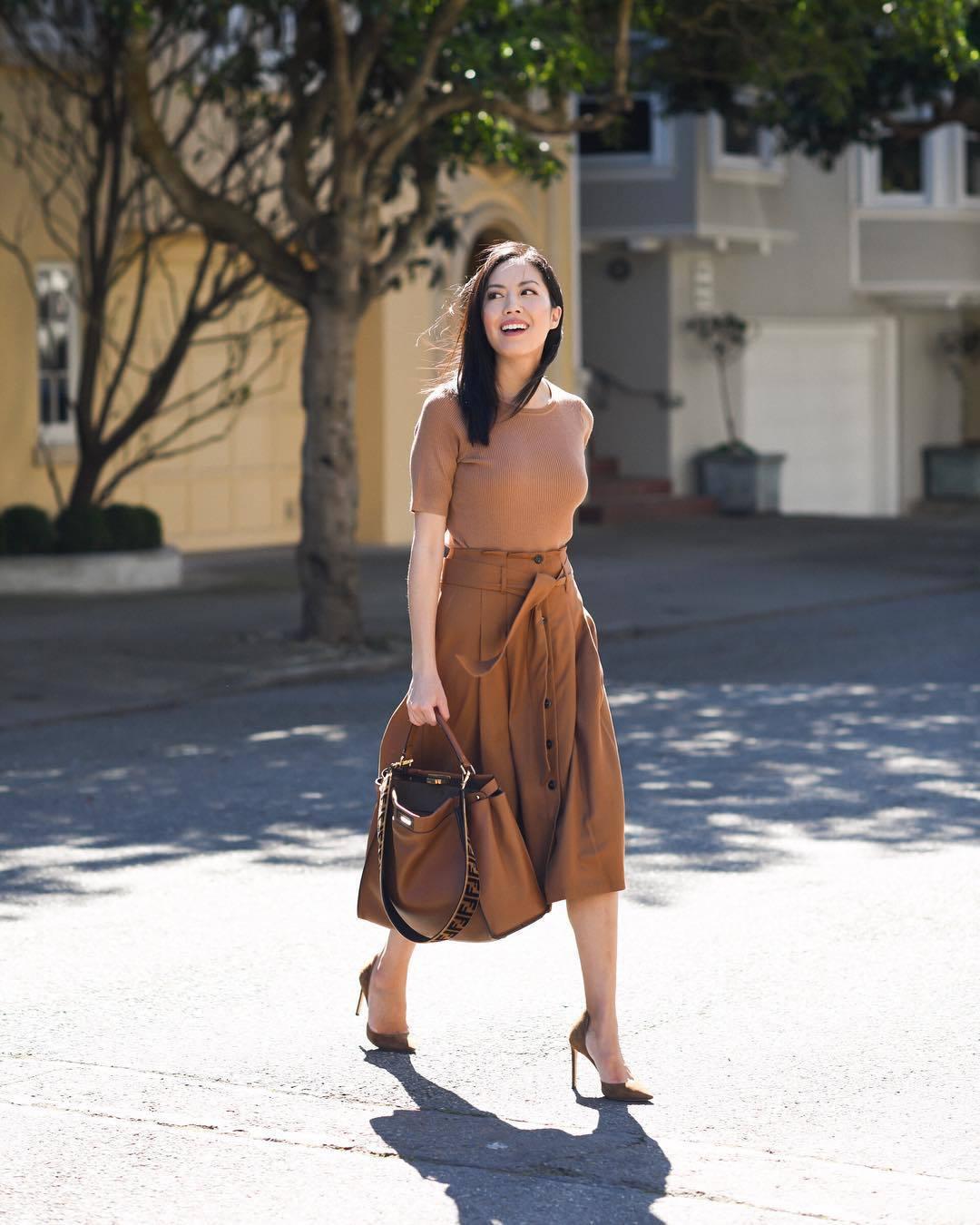 skirt midi skirt high waisted pants pumps brown bag fendi shirt
